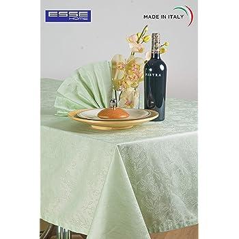 Esse Home - Línea Confestyl - Mantel con 24 servilletas (Servicio Mesa) - Rectangular - Fiandra Jacquard Puro Algodón - Made in Italy - Producto Artesanal - Iris 598 (170x500, Servicio Salvia): Amazon.es: Hogar