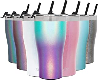 Simple Modern 22oz Slim Cruiser Tumbler with Straw & Closing Lid Travel Mug - Gift Double Wall Vacuum Insulated - 18/8 Stainless Steel Water Bottle Shimmer: Aurora