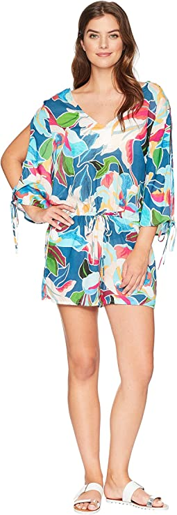 Go with The Flo-Ral Cool Shoulder Romper Cover-Up