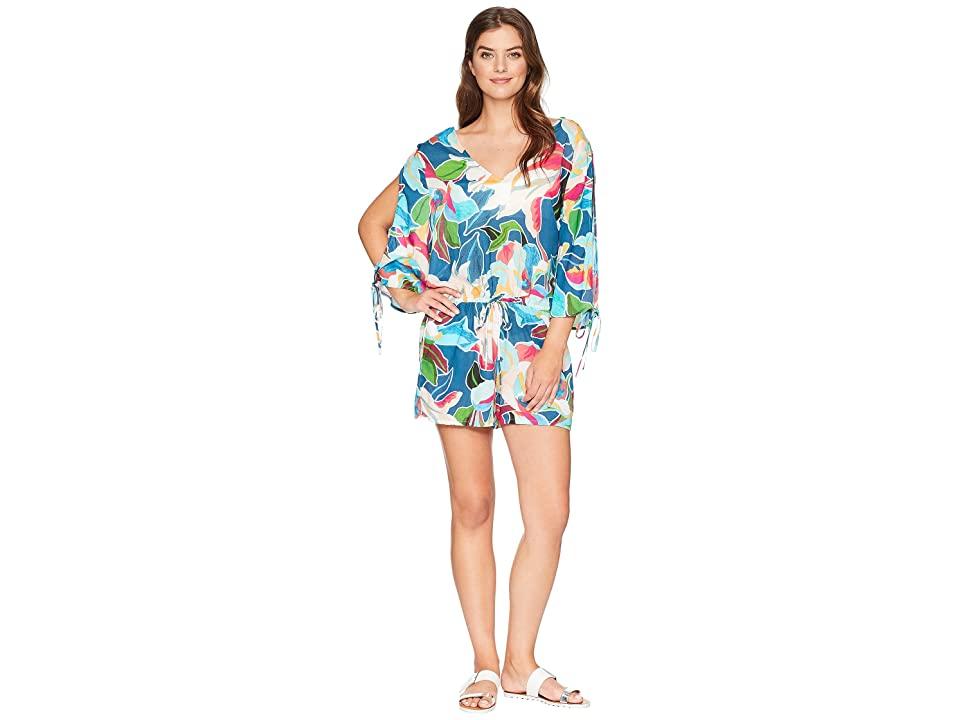 La Blanca Go with The Flo-Ral Cool Shoulder Romper Cover-Up (Marina) Women's Swimsuits One Piece