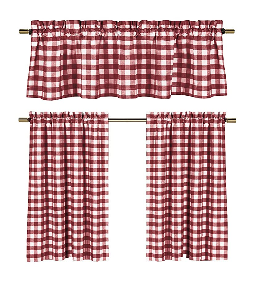lovemyfabric Poly Cotton Gingham Checkered Plaid Design 3-Piece Kitchen Curtain Valance Window Treatment Set (Red)