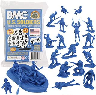 (Blue) - BMC Marx Plastic Army Men US Soldiers - Blue 31pc WW2 Figures - Made in USA