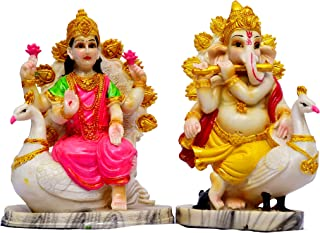 GIFTONUS Lakshmi Ganesh SETI for Diwali Pujan Murti Set Made from Poly Rasin, Marble Crush for Home Mandir| Temple | Showp...
