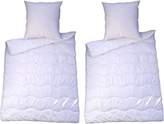 MB Warenhandel24 4 teilig Premium Bettenset Weiss Allergiker Steppbett Steppbettdecke Bettwäsche Bettdecke 2X 135x200 cm & Kopfkissen 2X 80x80 cm Bezug 100% Polyester Füllung: Klimafaser 4 teilig