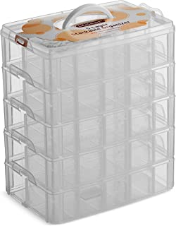 LifeSmart USA Stackable Storage Container Clear 50 Adjustable Compartments Compatible with Lego Dimensions LOL Surprise Littlest Pet Shop Arts and Crafts and More (5 Tier)