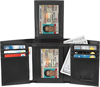 Travelambo RFID Leather Trifold Wallets for Men Credit Card Holder with ID Window