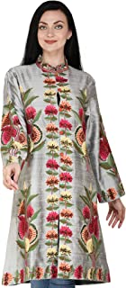 Exotic India Frost-Gray Long Kashmiri Jacket with Hand-Embroidered Multicolor Flowers