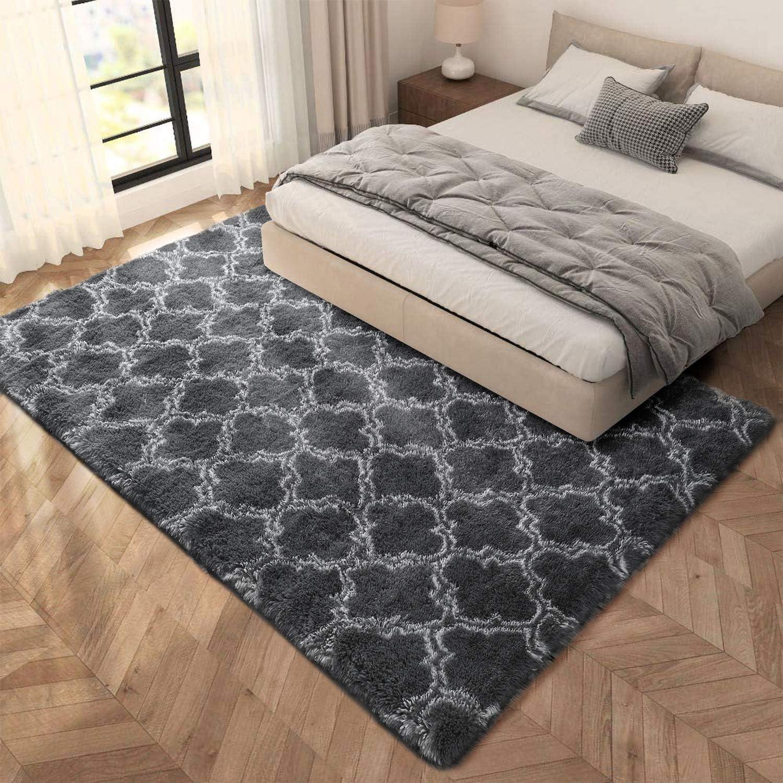 kinganda Carpets Area Rugs Fluffy Bedroom Carpets Home Decor Kids Room Floor Mats Non-Slip Living Room Floor Mats Shaggy Dark Grey, About 4.4/×6 feet(138/×185cm)