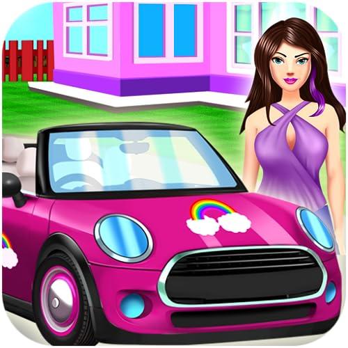 Nettes Mädchen Auto Reinigung