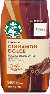 Starbucks Cinnamon Dolce Flavored Blonde Light Roast Ground Coffee, 11-Ounce Bag (Pack of 6)