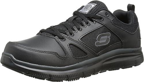 Skechers Flex Advantage Hombre Piel Zapato de Trabaja, negro, 43 EU