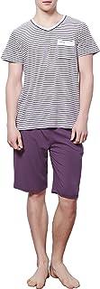 طقم بيجامة رجالي من HACAI قطن ناعم بأكمام قصيرة ملابس النوم [المقاس السريع/اللون كوبونة