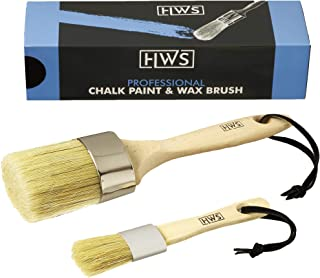 Professional Chalk Paint Brush and Wax Brush 2-Piece Set for Painting DIY Arts, Crafts, Furniture, and Hobby Projects on W...