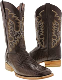 Team West - Men's Brown Python Snake Print Leather Cowboy Boots Square Toe