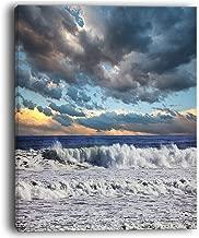 """تصميم فني المسائية البحر بعد عاصفة الثقيلة الشاطئ من القماش الكتاني مطبوع عليه صورة من الفن الحديث, 12x20"""""""