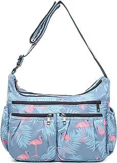 Crossbody Bags for Women, Multi Pocket Shoulder Bag Waterproof Nylon Travel Purses and Handbags (8981-Flamingo-Large)