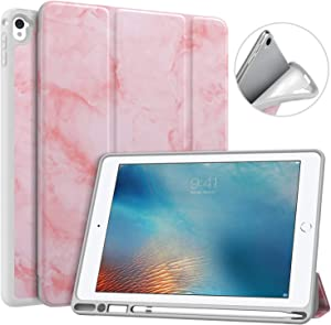 MoKo Case Fit iPad Pro 9.7 with Pencil Holder - Slim Lightweight Smart Shell Stand Cover Case with Auto Wake / Sleep Fit iPad Pro 9.7 Inch 2016 Release (A1673/A1674/A1675) - Pink Marble