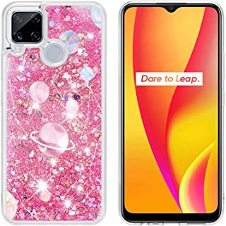 Mylne Liquid Case for Oppo Realme C15,Glitter Shockproof Quicksand Cover Floating Bling Sparkle Shiny Clear Bumper,Galaxy