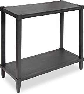 Kate and Laurel Rio Wood Console Table with Tapered Legs and Shelf, Dark Gray