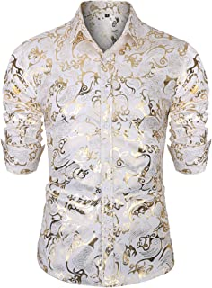 URRU Men's Golden Rose Luxury Design Slim Fit Long Sleeve Button Down Flowered Printed Stylish Silver Dress Shirt