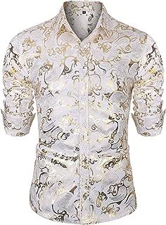 Men's Golden Rose Luxury Design Slim Fit Long Sleeve Button Down Flowered Printed Stylish Silver Dress Shirt
