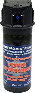Pepper Enforcement 2 oz. Cone Fog Police Strength 10% OC Flip Top Spray - Professional Grade Emergency Self Defense Non Lethal Weapon for Personal Protection and Safety