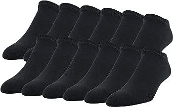 Gildan Men's Stretch Cotton Half Cushion No Show Socks, 12-Pack