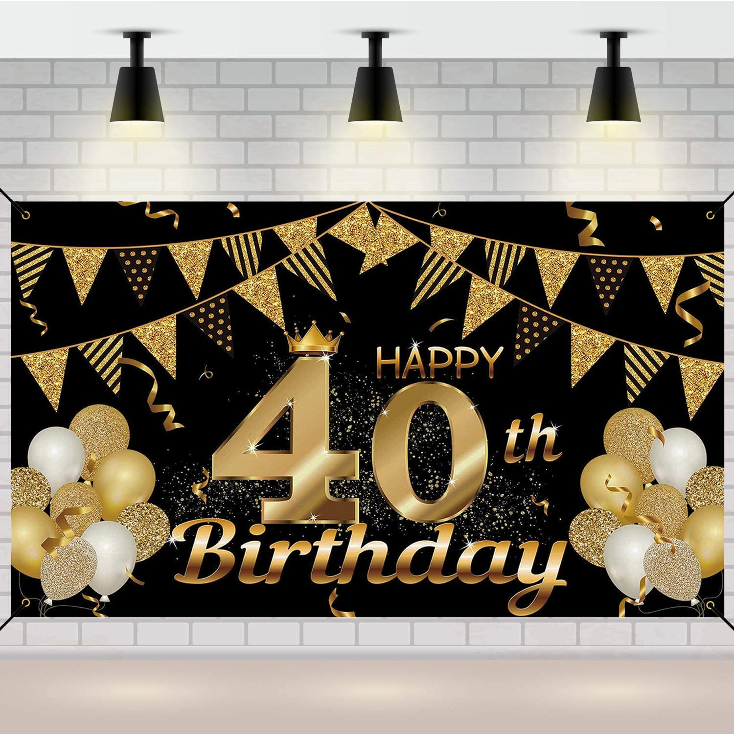 40th Birthday Banners 70.8'' Gorgeous x 43.3'' and Large Black New mail order Gold Ba
