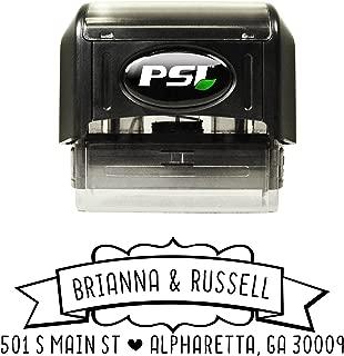 Custom Self Inking Return Address Stamp - Ribbon Banner - Personalized Wedding Address Stamp with Black Ink