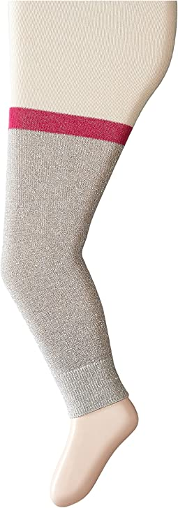 Cream with Grey Glitter Knit Tights (Toddler/Little Kids/Big Kids)