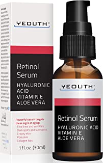 Best Retinol Serum 2.5% with Hyaluronic Acid, Aloe Vera, Vitamin E - Boost Collagen Production, Reduce Wrinkles, Fine Lines, Even Skin Tone, Age Spots, Sun Spots - 1 fl oz - Yeouth … (1oz) Review