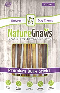 Nature Gnaws Large Bully Sticks 11-12 inch - 100% Natural Grass-Fed Beef Dog Chews