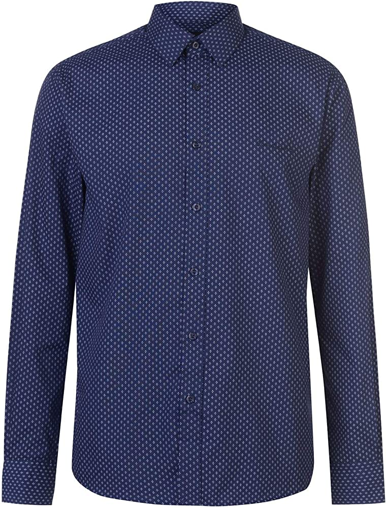 Pierre cardin, camicia manica lunga da uomo, 65% poliestere, 35% cotone, nvy/weiss geo