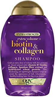 OGX Thick & Full + Biotin & Collagen Extra Strength Volumizing Shampoo with Vitamin B7 & Hydrolyzed Wheat Protein for Fine Hair. Sulfate-Free Surfactants for Thicker, Fuller Hair, 13 Fl Oz