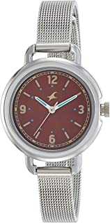 Titan Women's Wine Dial Stainless Steel Band Watch - 6123SM04