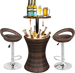 Super Deal 3in1 Outdoor Rattan Wicker Bar Table Included Cooler + 2 Hydraulic Pub Barstool All in One, Rattan Style Adjustable Height Patio Party Deck Pool Use, Brown (Combo Set)