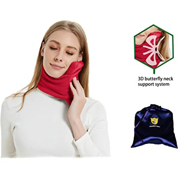 FOXSEON Travel Pillow and Multifunctional Scarf, 3D Butterfly Neck Support Pillow for Airplane, Home or Office nap, Easy to Clean and Carry, with Luxury Storage Bag(red)