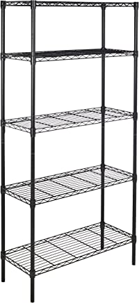 AmazonBasics 5-Shelf Shelving Storage Unit, Metal Organizer Wire Rack, Black