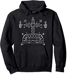 Dark and Gritty Baron Samedi Occult Voodoo Veve Symbol Pullover Hoodie