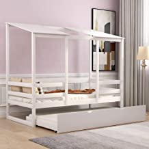 House Bed with Trundle Bed for Kids, Twin Size, Solid Wood Twin Daybed Frame with Floor Trundle and Railings for Toddler B...