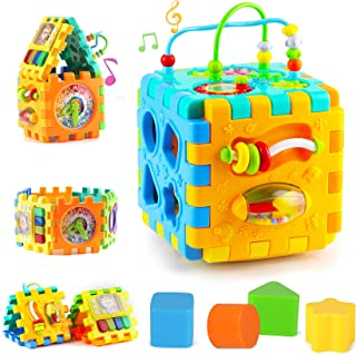 Baby Activity Cube Toddler Toys - 6 in 1 Shape Sorter Toys Baby Activity Play Centers for Kids Infants Educational Music P...