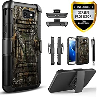 Galaxy J7 V Case, Galaxy J7 Perx Case, Galaxy J7 Sky Pro Case, [Combo Holster] And Built-In Kickstand Bundled with [Premium Screen Protector] Hybird Shockproof And Circlemalls Stylus Pen (Camo)