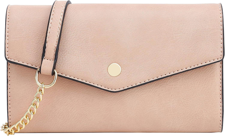 SG SUGU Women's Envelope Clutch Crossbody Wallet (Nude)