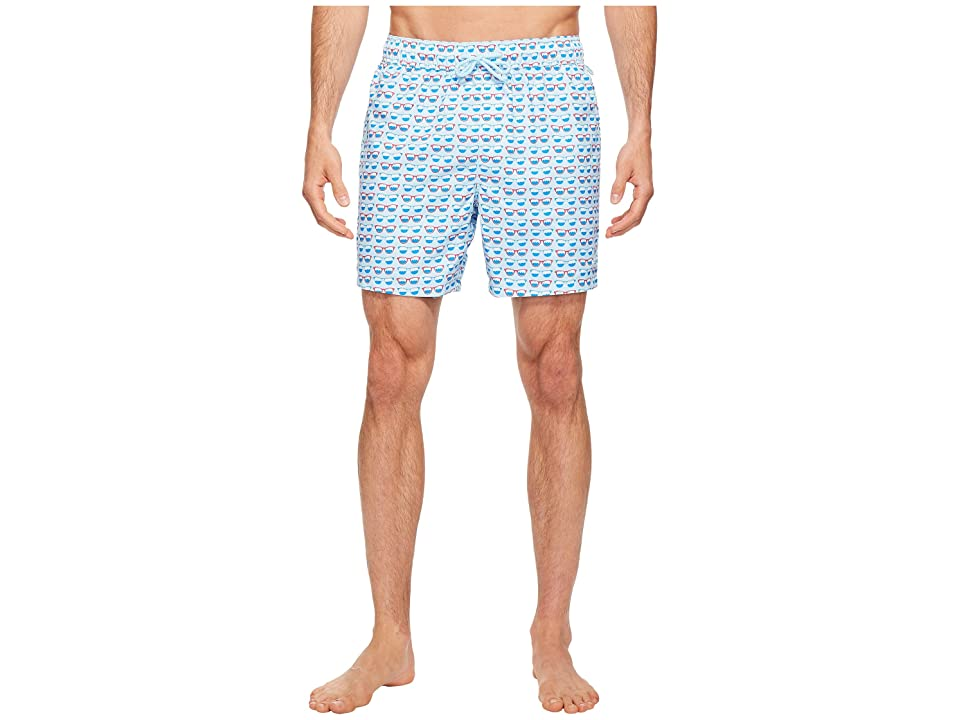 Original Penguin Elastic Reversible Volley Trunk Volley Swim Trunk (Blue Glow) Men