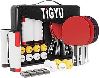 Tigyu Ping Pong Paddles Set of 4 - Table Tennis Paddles - Ping Pong Net for Any Table Tennis Table - Table Tennis Balls - 4 Over Grips - Portable Ping Pong Set Storage Case