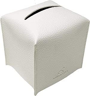 Unit101 White Modern Leather Square Paper Facial Tissue Box Cover - not Heavy Kid Friendly Pull Cube Dispenser - Decorative Holder/Organizer for Bathroom Vanity Countertop, Office Desk & Car (White)