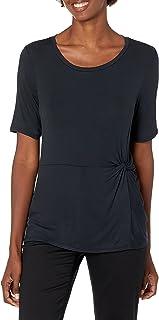 Lark & Ro Cuello Redondo con Nudo Lateral. Camisa para Mujer