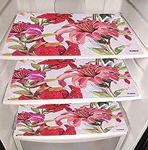 Kuber Industries Flower Design PVC 6 Pieces Refrigerator Drawer Mats (Pink), CTKTC13671