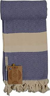 G&O Design Turkish Peshtemal Towel (Istanbul Peshtemal) (Blue)%100 Cotton, Made in Turkey, Multipurpose Towels, Ecofriendly Absorbs Water as Fast as a Terry Towel and Dries.