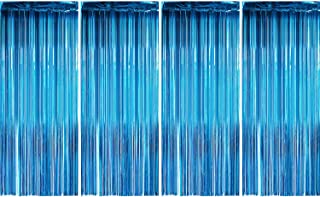 Sumind 4 Pack Foil Curtains Metallic Fringe Curtains Shimmer Curtain for Birthday Wedding Party Christmas Decorations (Aquamarine)